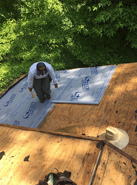 Super-Felt roofing installation 1